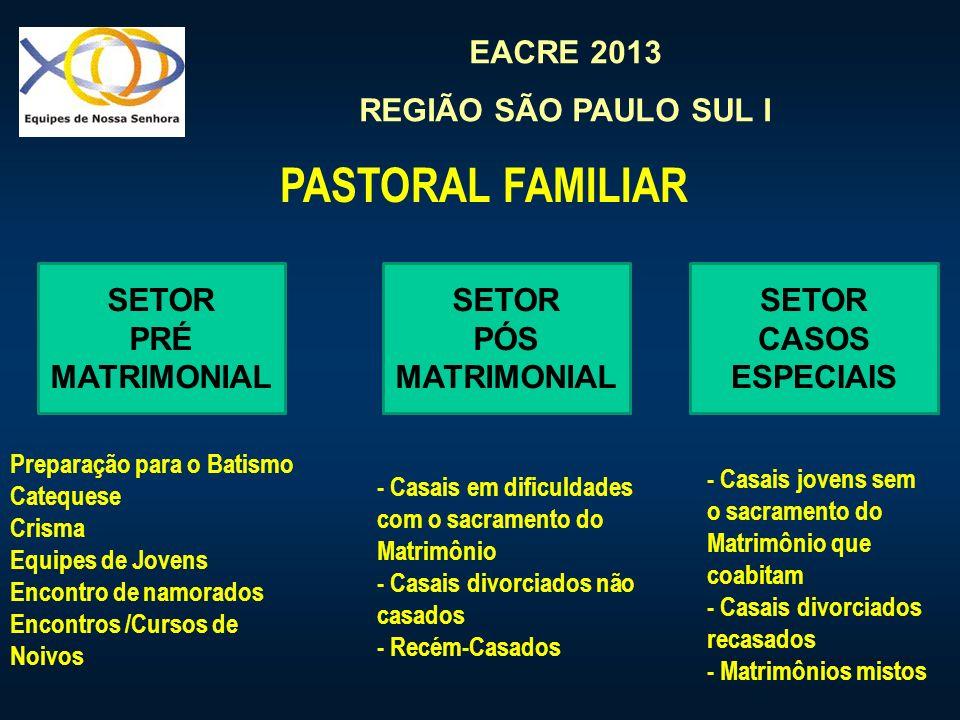 EACRE 2013 REGIÃO SÃO PAULO SUL I SETOR PRÉ MATRIMONIAL PASTORAL FAMILIAR SETOR PÓS MATRIMONIAL SETOR CASOS ESPECIAIS Preparação para o Batismo Catequese Crisma Equipes de Jovens Encontro de namorados Encontros /Cursos de Noivos - Casais em dificuldades com o sacramento do Matrimônio - Casais divorciados não casados - Recém-Casados - Casais jovens sem o sacramento do Matrimônio que coabitam - Casais divorciados recasados - Matrimônios mistos