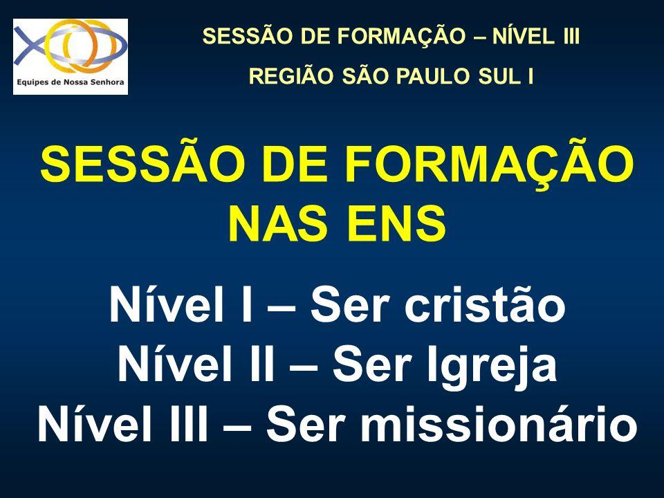 SESSÃO DE FORMAÇÃO – NÍVEL III REGIÃO SÃO PAULO SUL I SESSÃO DE FORMAÇÃO NAS ENS Nível I – Ser cristão Nível II – Ser Igreja Nível III – Ser missionár
