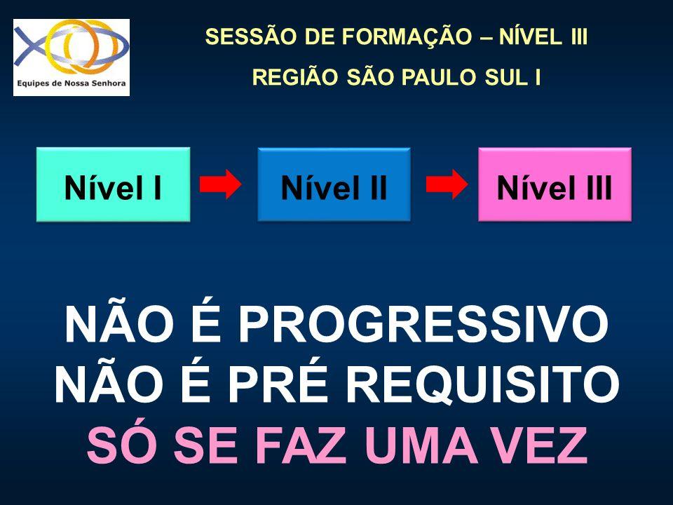 SESSÃO DE FORMAÇÃO – NÍVEL III REGIÃO SÃO PAULO SUL I NÃO É PROGRESSIVO NÃO É PRÉ REQUISITO SÓ SE FAZ UMA VEZ Nível INível IINível III