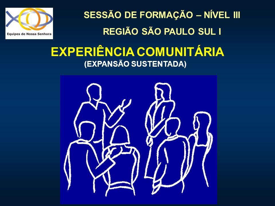SESSÃO DE FORMAÇÃO – NÍVEL III REGIÃO SÃO PAULO SUL I EXPERIÊNCIA COMUNITÁRIA (EXPANSÃO SUSTENTADA)
