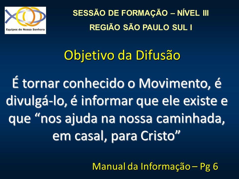 SESSÃO DE FORMAÇÃO – NÍVEL III REGIÃO SÃO PAULO SUL I É tornar conhecido o Movimento, é divulgá-lo, é informar que ele existe e que nos ajuda na nossa