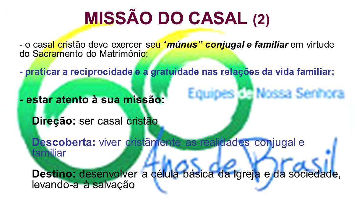 MISSÃO DO CASAL EQUIPISTA (1) - reconhecer a condição do SER IGREJA do Movimento das E.