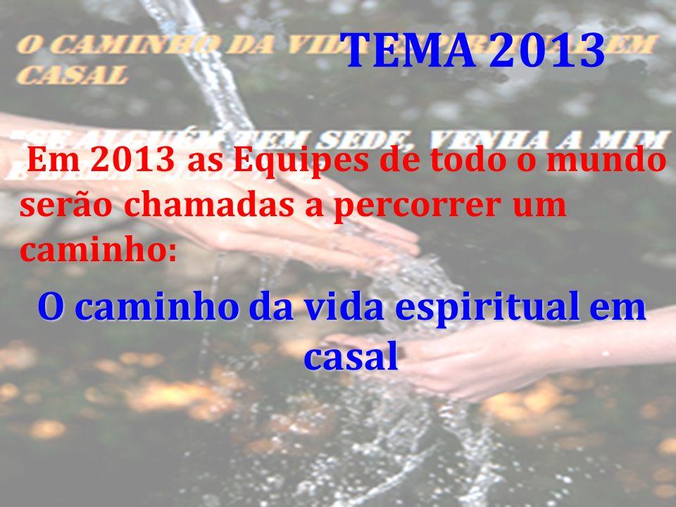 Em 2013 as Equipes de todo o mundo serão chamadas a percorrer um caminho: O caminho da vida espiritual em casal TEMA 2013