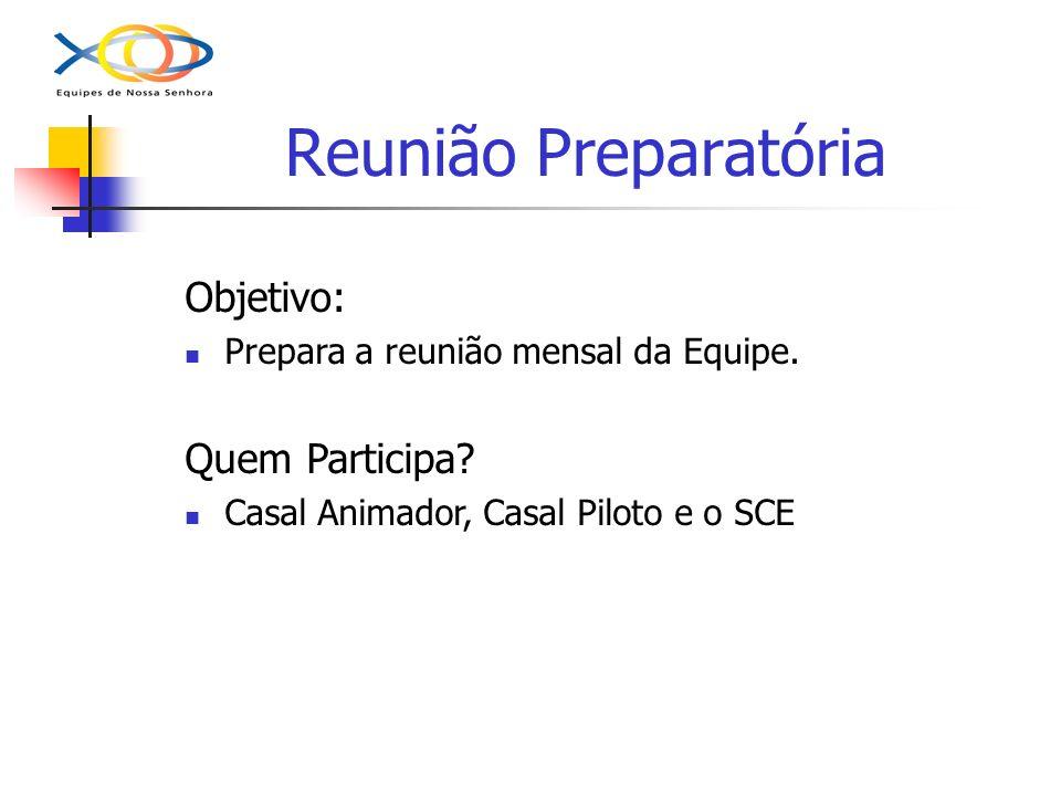 Reunião Preparatória Objetivo: Prepara a reunião mensal da Equipe. Quem Participa? Casal Animador, Casal Piloto e o SCE