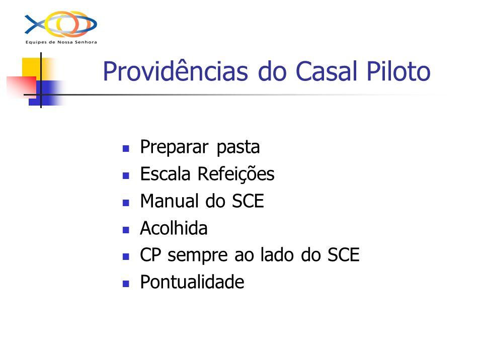 Providências do Casal Piloto Preparar pasta Escala Refeições Manual do SCE Acolhida CP sempre ao lado do SCE Pontualidade