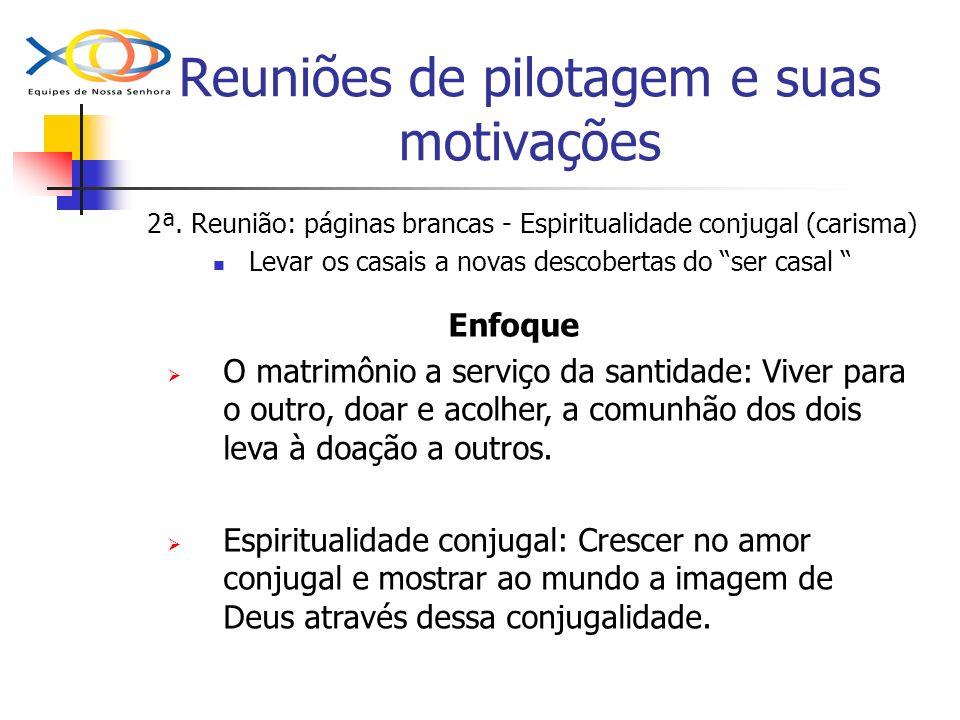 Reuniões de pilotagem e suas motivações 2ª. Reunião: páginas brancas - Espiritualidade conjugal (carisma) Levar os casais a novas descobertas do ser c
