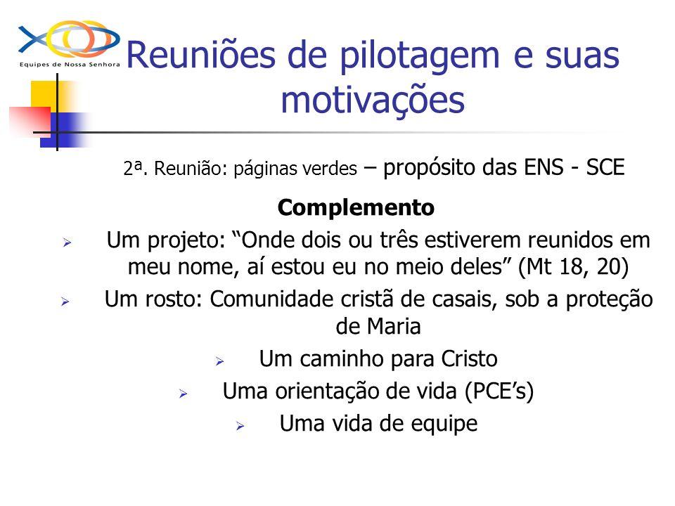 Reuniões de pilotagem e suas motivações 2ª. Reunião: páginas verdes – propósito das ENS - SCE Complemento Um projeto: Onde dois ou três estiverem reun