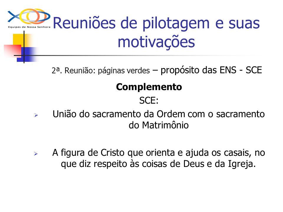 Reuniões de pilotagem e suas motivações 2ª. Reunião: páginas verdes – propósito das ENS - SCE Complemento SCE: União do sacramento da Ordem com o sacr