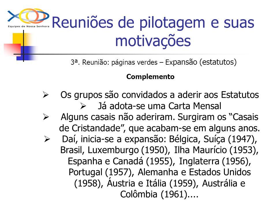 Reuniões de pilotagem e suas motivações 3ª. Reunião: páginas verdes – Ex pansão (estatutos) Complemento Os grupos são convidados a aderir aos Estatuto