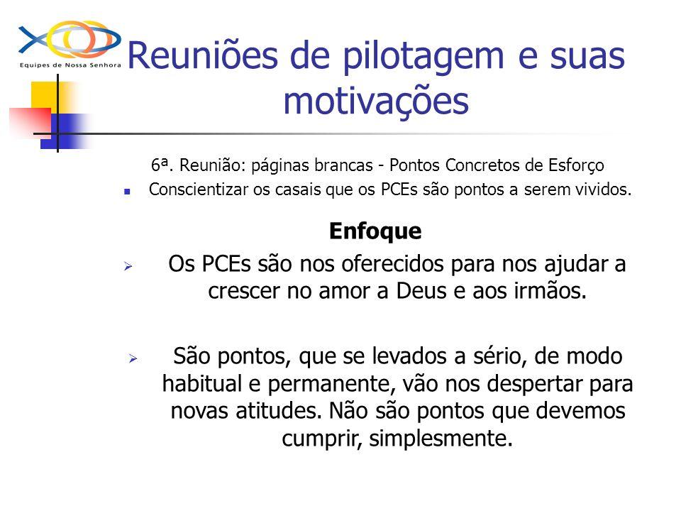 Reuniões de pilotagem e suas motivações 6ª. Reunião: páginas brancas - Pontos Concretos de Esforço Conscientizar os casais que os PCEs são pontos a se