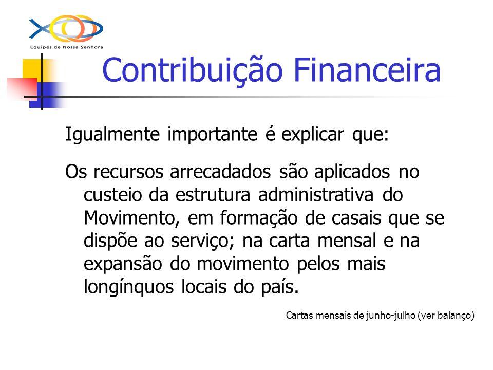 Contribuição Financeira Igualmente importante é explicar que: Os recursos arrecadados são aplicados no custeio da estrutura administrativa do Moviment