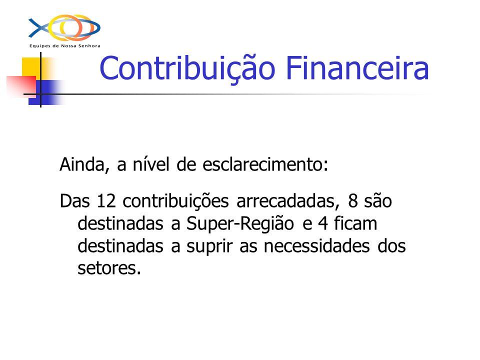 Contribuição Financeira Ainda, a nível de esclarecimento: Das 12 contribuições arrecadadas, 8 são destinadas a Super-Região e 4 ficam destinadas a sup