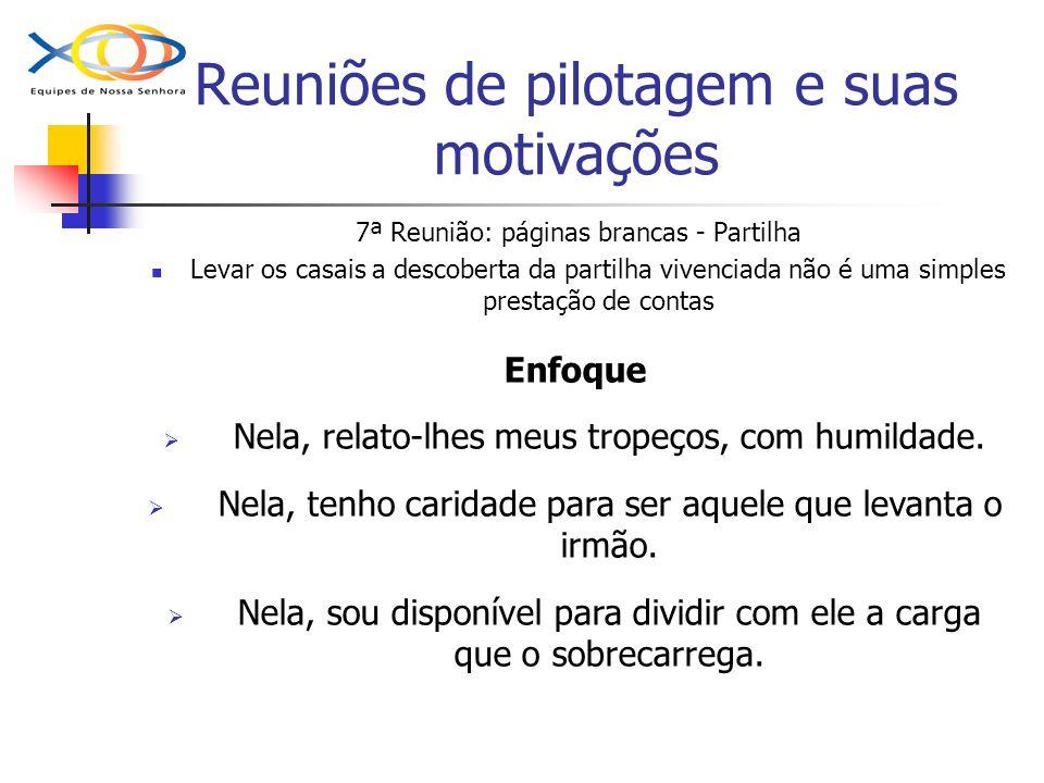 Reuniões de pilotagem e suas motivações 7ª Reunião: páginas brancas - Partilha Levar os casais a descoberta da partilha vivenciada não é uma simples p