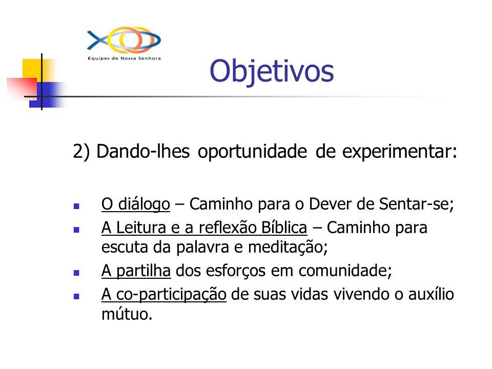 Objetivos 2) Dando-lhes oportunidade de experimentar: O diálogo – Caminho para o Dever de Sentar-se; A Leitura e a reflexão Bíblica – Caminho para esc