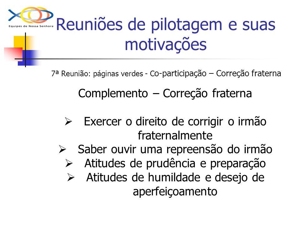 Reuniões de pilotagem e suas motivações 7ª Reunião: páginas verdes - C o-participação – Correção fraterna Complemento – Correção fraterna Exercer o di