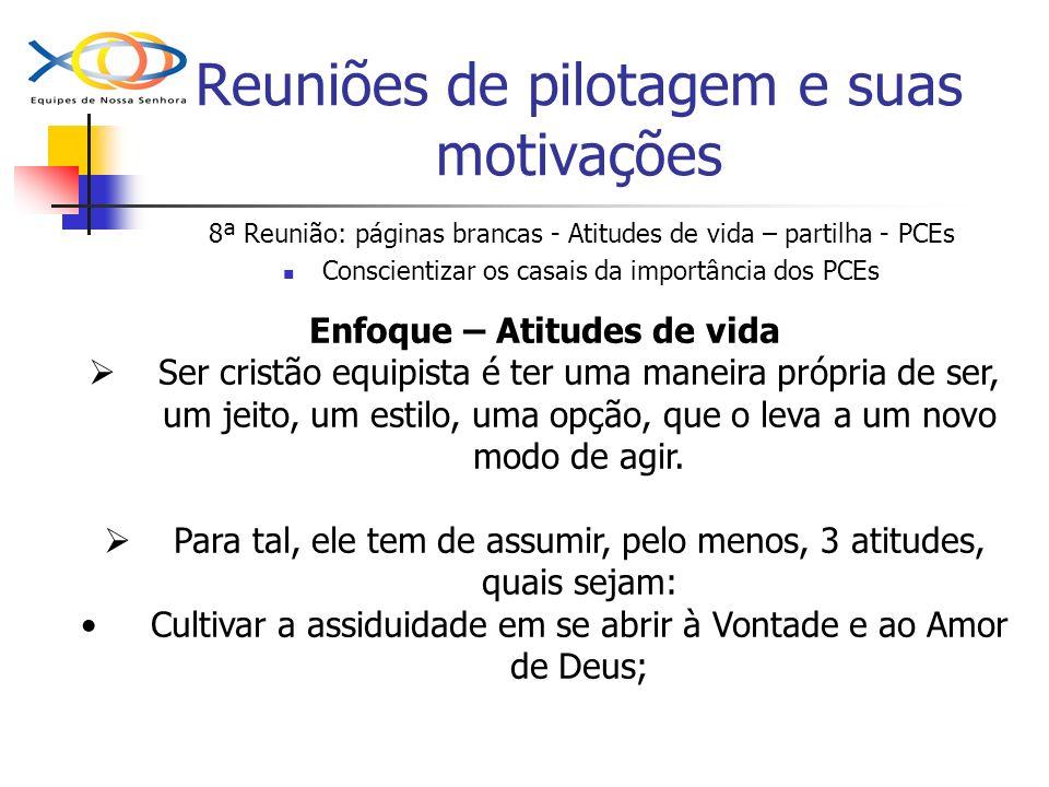 Reuniões de pilotagem e suas motivações 8ª Reunião: páginas brancas - Atitudes de vida – partilha - PCEs Conscientizar os casais da importância dos PC