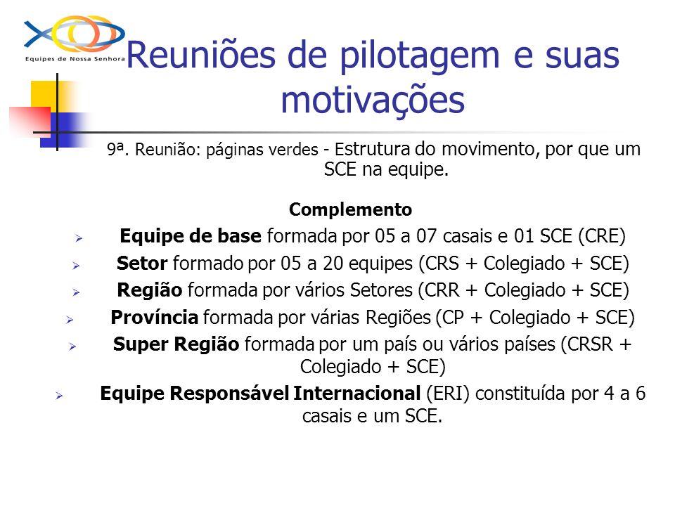 Reuniões de pilotagem e suas motivações 9ª. Reunião: páginas verdes - E strutura do movimento, por que um SCE na equipe. Complemento Equipe de base fo