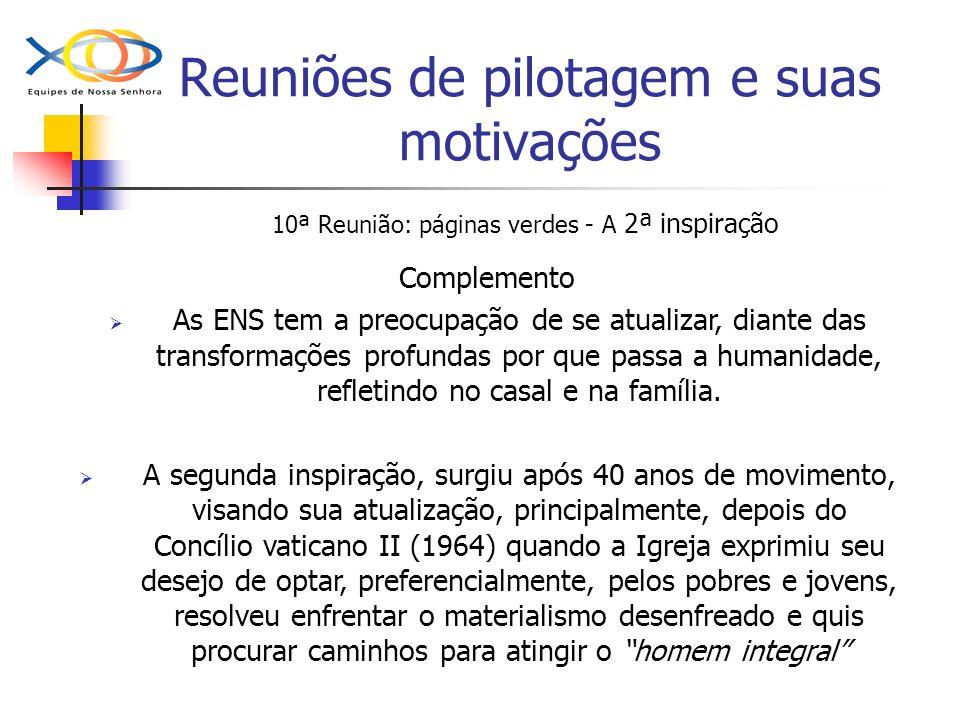 Reuniões de pilotagem e suas motivações 10ª Reunião: páginas verdes - A 2ª inspiração Complemento As ENS tem a preocupação de se atualizar, diante das