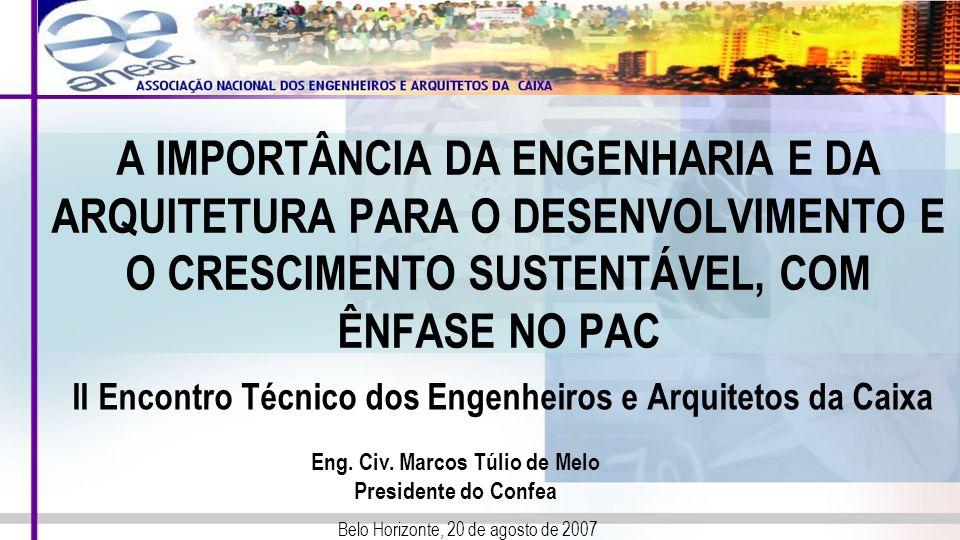 A IMPORTÂNCIA DA ENGENHARIA E DA ARQUITETURA PARA O DESENVOLVIMENTO E O CRESCIMENTO SUSTENTÁVEL, COM ÊNFASE NO PAC II Encontro Técnico dos Engenheiros