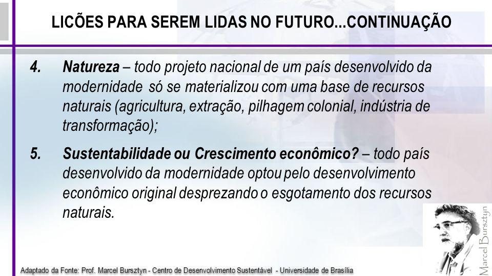 LICÕES PARA SEREM LIDAS NO FUTURO...CONTINUAÇÃO 4.Natureza – todo projeto nacional de um país desenvolvido da modernidade só se materializou com uma b