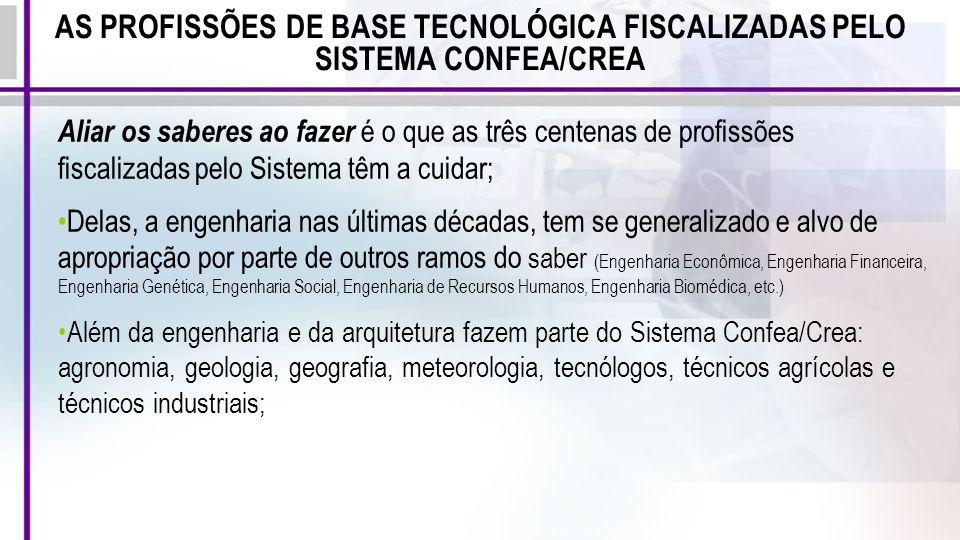 AS PROFISSÕES DE BASE TECNOLÓGICA FISCALIZADAS PELO SISTEMA CONFEA/CREA Aliar os saberes ao fazer é o que as três centenas de profissões fiscalizadas