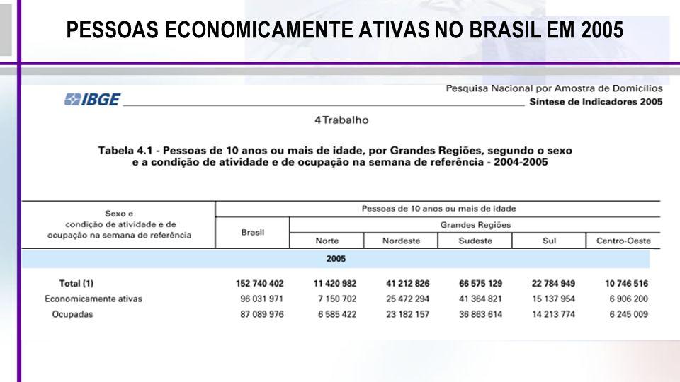 PESSOAS ECONOMICAMENTE ATIVAS NO BRASIL EM 2005