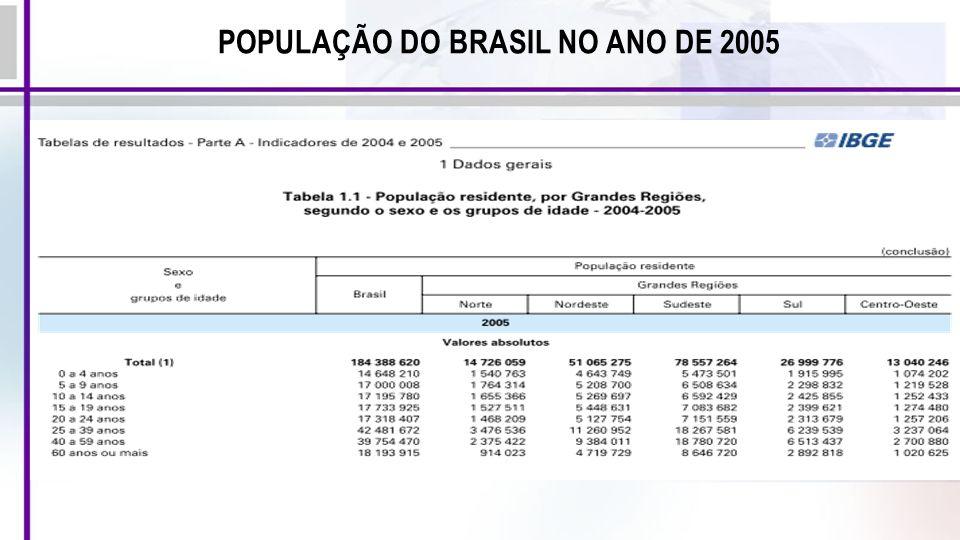 POPULAÇÃO DO BRASIL NO ANO DE 2005