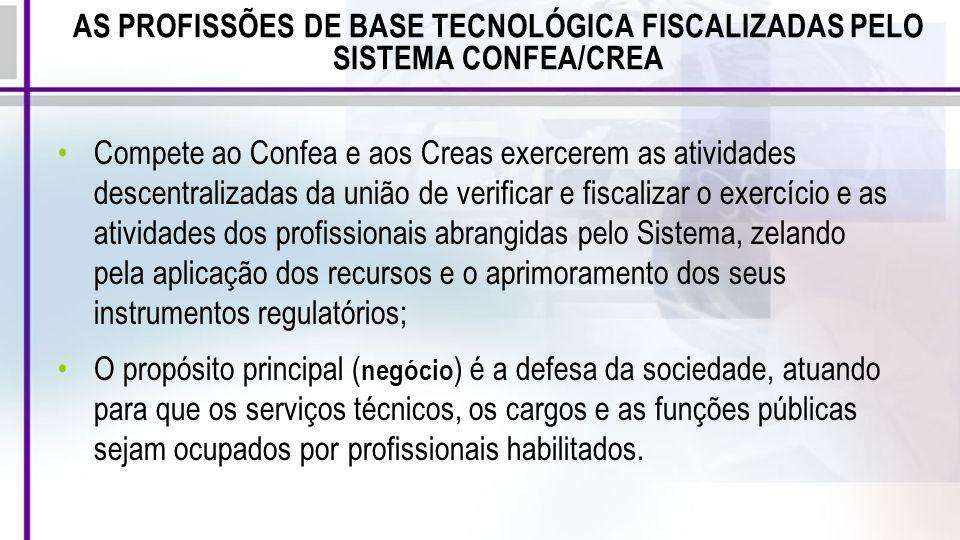 AS PROFISSÕES DE BASE TECNOLÓGICA FISCALIZADAS PELO SISTEMA CONFEA/CREA Compete ao Confea e aos Creas exercerem as atividades descentralizadas da uniã