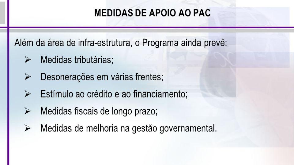 MEDIDAS DE APOIO AO PAC Além da área de infra-estrutura, o Programa ainda prevê: Medidas tributárias; Desonerações em várias frentes; Estímulo ao créd