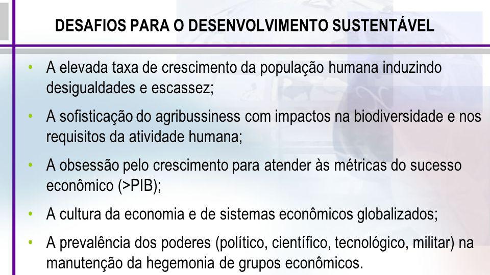 DESAFIOS PARA O DESENVOLVIMENTO SUSTENTÁVEL A elevada taxa de crescimento da população humana induzindo desigualdades e escassez; A sofisticação do ag