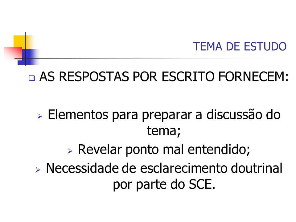 TEMA DE ESTUDO AS RESPOSTAS POR ESCRITO FORNECEM: Elementos para preparar a discussão do tema; Revelar ponto mal entendido; Necessidade de esclarecime