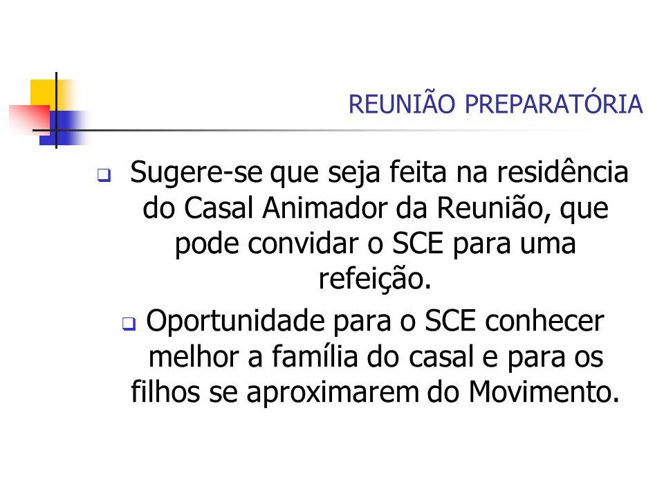 REUNIÃO PREPARATÓRIA Sugere-se que seja feita na residência do Casal Animador da Reunião, que pode convidar o SCE para uma refeição. Oportunidade para