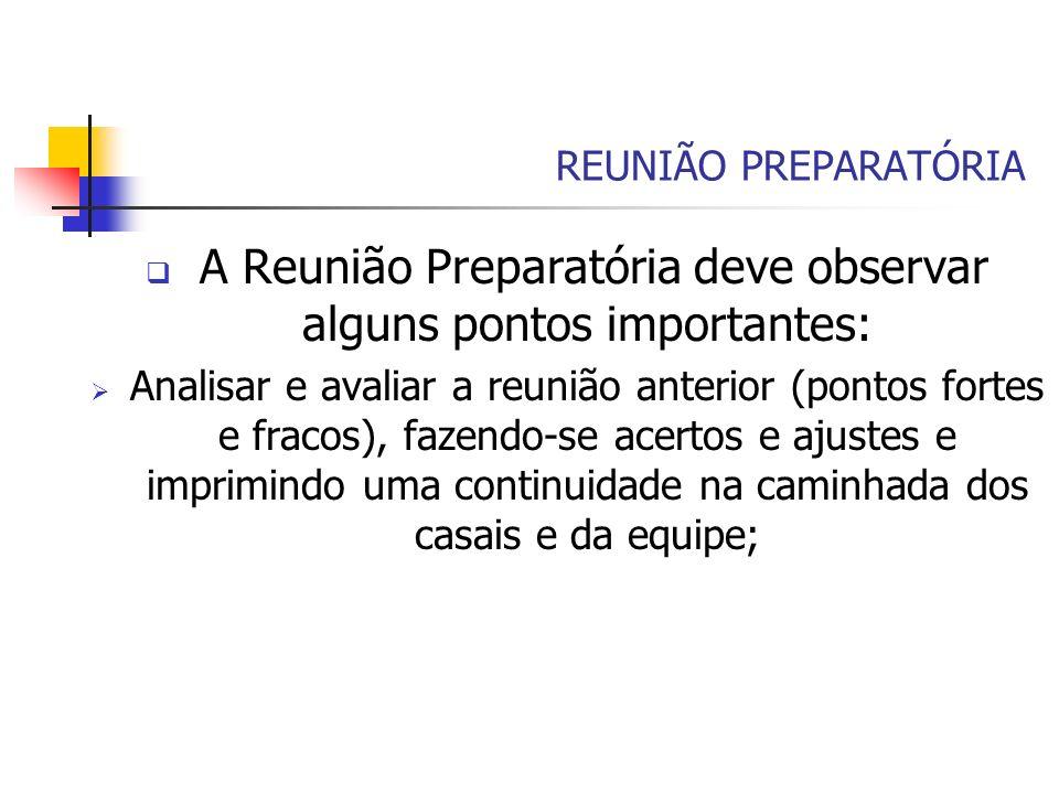 REUNIÃO PREPARATÓRIA A Reunião Preparatória deve observar alguns pontos importantes: Analisar e avaliar a reunião anterior (pontos fortes e fracos), f