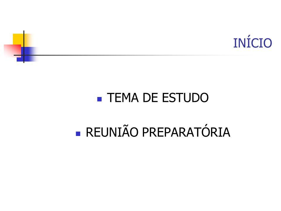 INÍCIO TEMA DE ESTUDO REUNIÃO PREPARATÓRIA