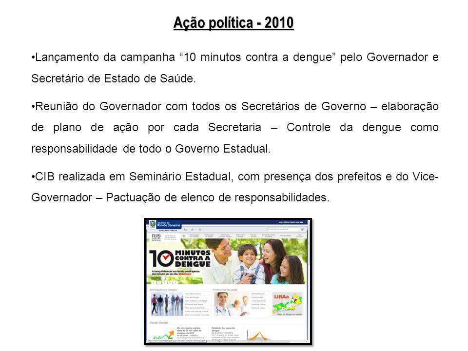 Ação política - 2010 Lançamento da campanha 10 minutos contra a dengue pelo Governador e Secretário de Estado de Saúde. Reunião do Governador com todo