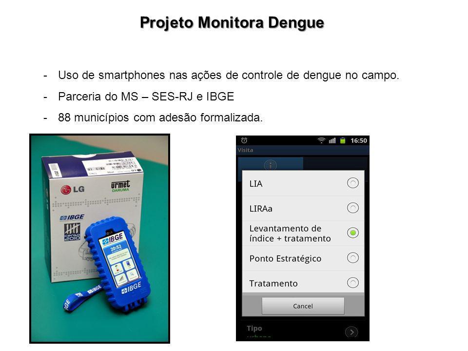 Projeto Monitora Dengue -Uso de smartphones nas ações de controle de dengue no campo. -Parceria do MS – SES-RJ e IBGE -88 municípios com adesão formal