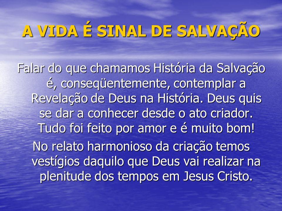 A VIDA É SINAL DE SALVAÇÃO Falar do que chamamos História da Salvação é, conseqüentemente, contemplar a Revelação de Deus na História. Deus quis se da