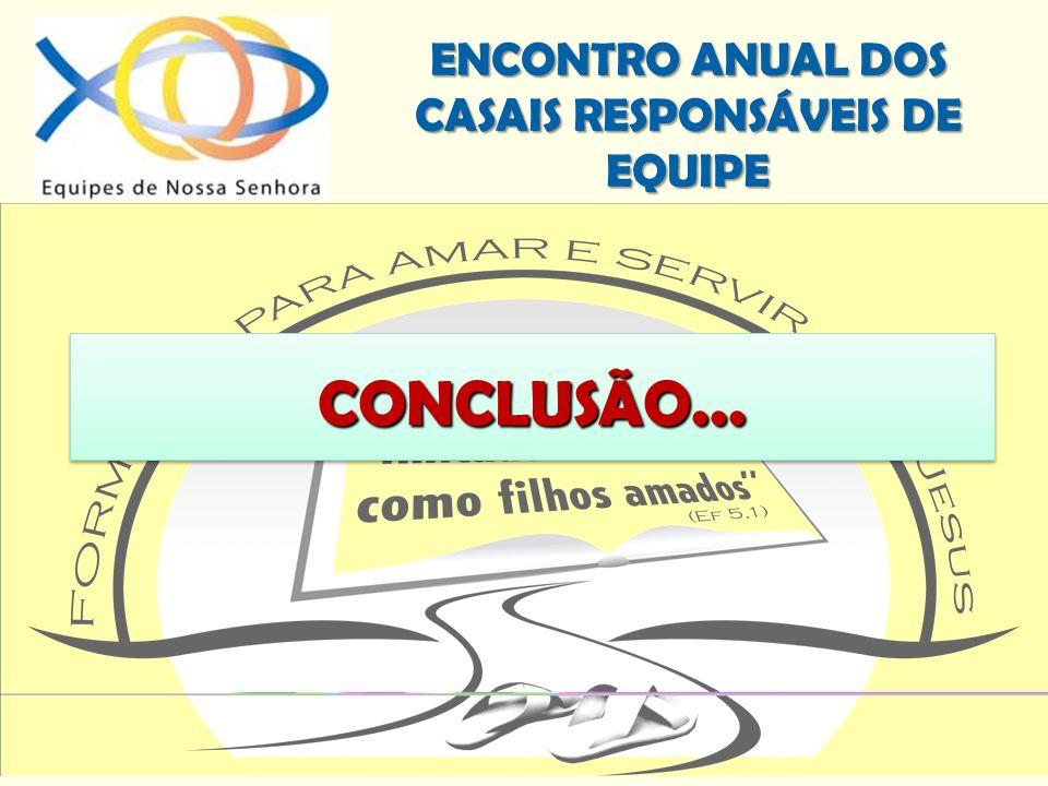 ENCONTRO ANUAL DOS CASAIS RESPONSÁVEIS DE EQUIPE CONCLUSÃO...CONCLUSÃO...