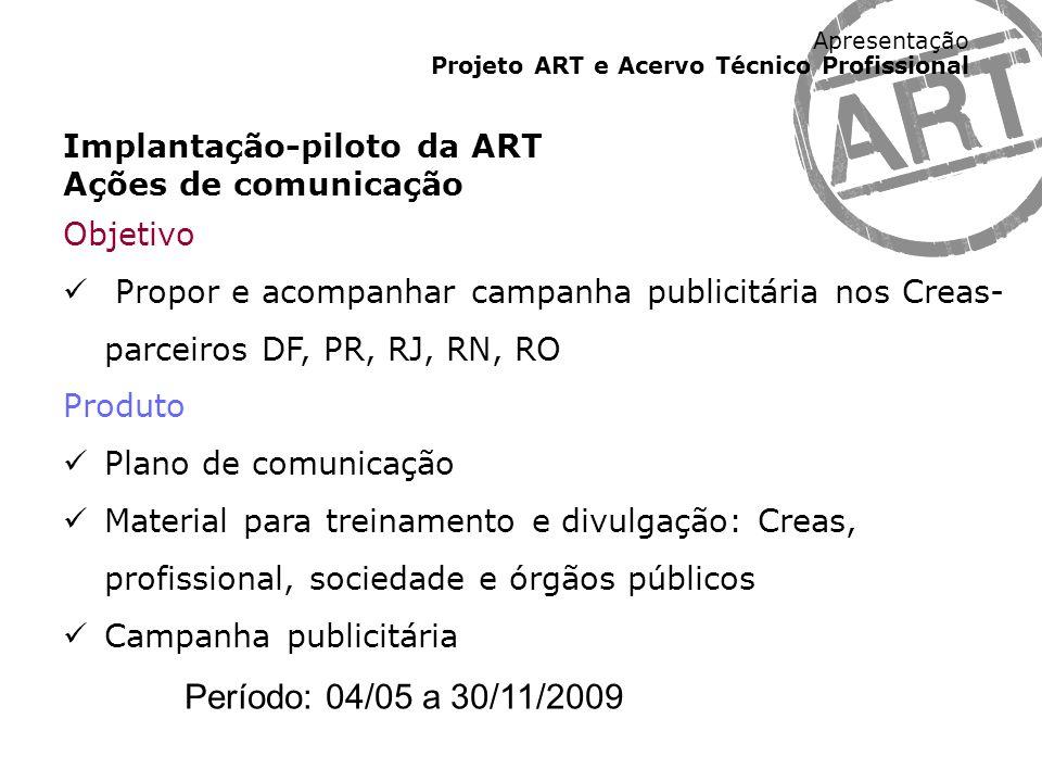 Apresentação Projeto ART e Acervo Técnico Profissional Implantação-piloto da ART Ações de comunicação Objetivo Propor e acompanhar campanha publicitár
