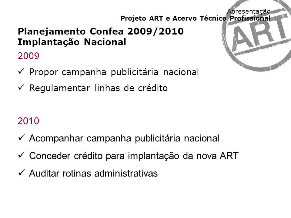 Apresentação Projeto ART e Acervo Técnico Profissional Planejamento Confea 2009/2010 Implantação Nacional 2009 Propor campanha publicitária nacional R