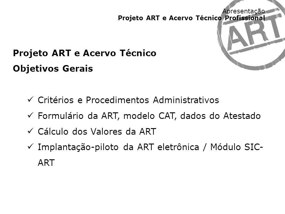 Apresentação Projeto ART e Acervo Técnico Profissional Projeto ART e Acervo Técnico Objetivos Gerais Critérios e Procedimentos Administrativos Formulá