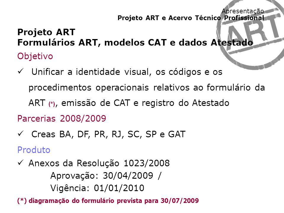 Apresentação Projeto ART e Acervo Técnico Profissional Projeto ART Cálculo dos Valores da ART Objetivo Propor novos critérios para o cálculo do valor da ART (*) Parcerias 2008/2009 Creas BA, DF, GO, PR, RJ, RN, RO, SC e SP Produto Resolução de valores de ART, anuidades e serviços Aprovação: 26/08/2009 Vigência: 01/01/2010 (*) novos valores não serão aplicados na implantação-piloto