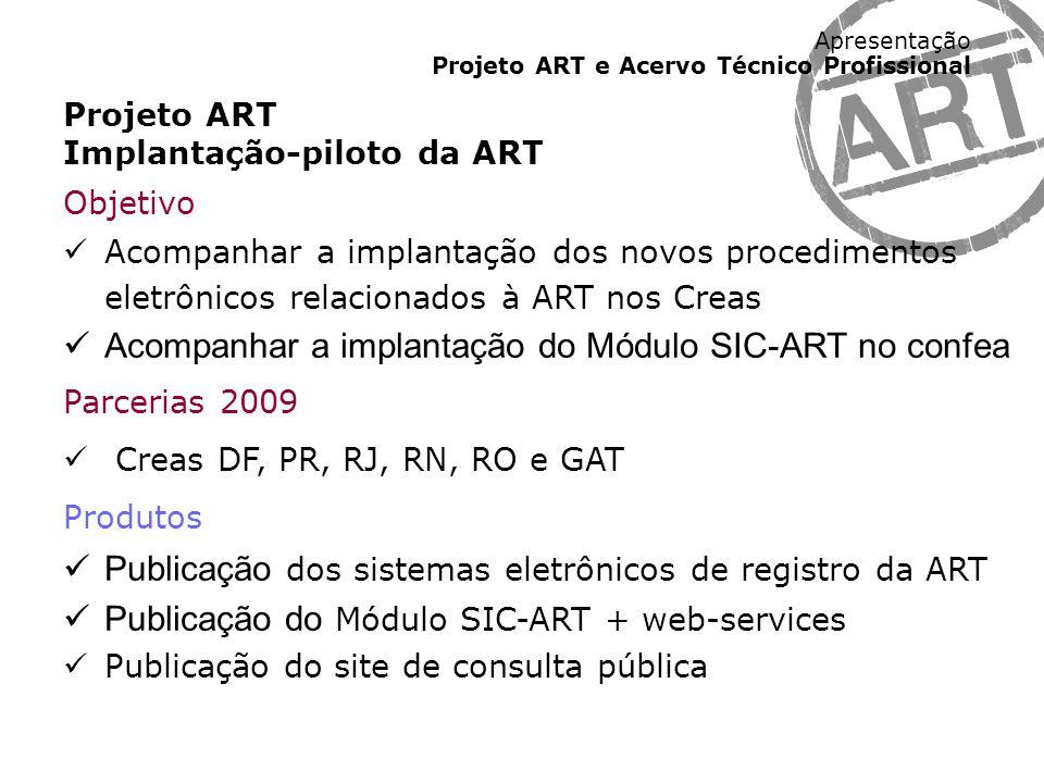 Apresentação Projeto ART e Acervo Técnico Profissional Projeto ART Implantação-piloto da ART Objetivo Acompanhar a implantação dos novos procedimentos