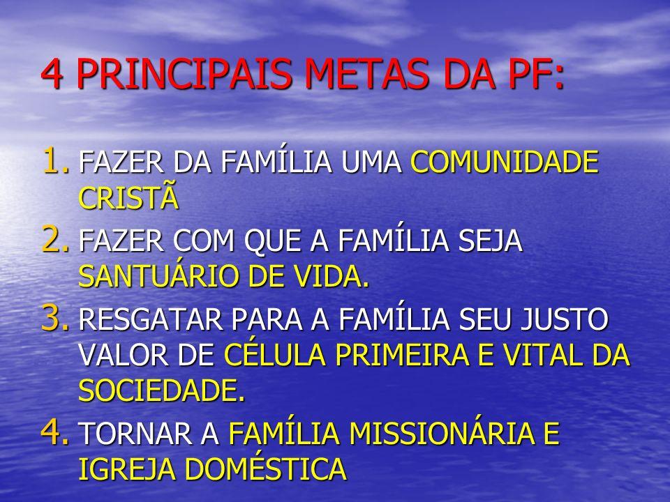 4 PRINCIPAIS METAS DA PF: 1. FAZER DA FAMÍLIA UMA COMUNIDADE CRISTÃ 2. FAZER COM QUE A FAMÍLIA SEJA SANTUÁRIO DE VIDA. 3. RESGATAR PARA A FAMÍLIA SEU