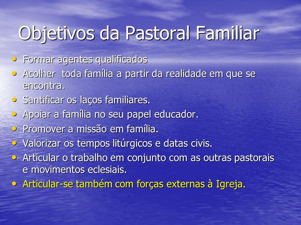Objetivos da Pastoral Familiar Formar agentes qualificados Formar agentes qualificados Acolher toda família a partir da realidade em que se encontra.