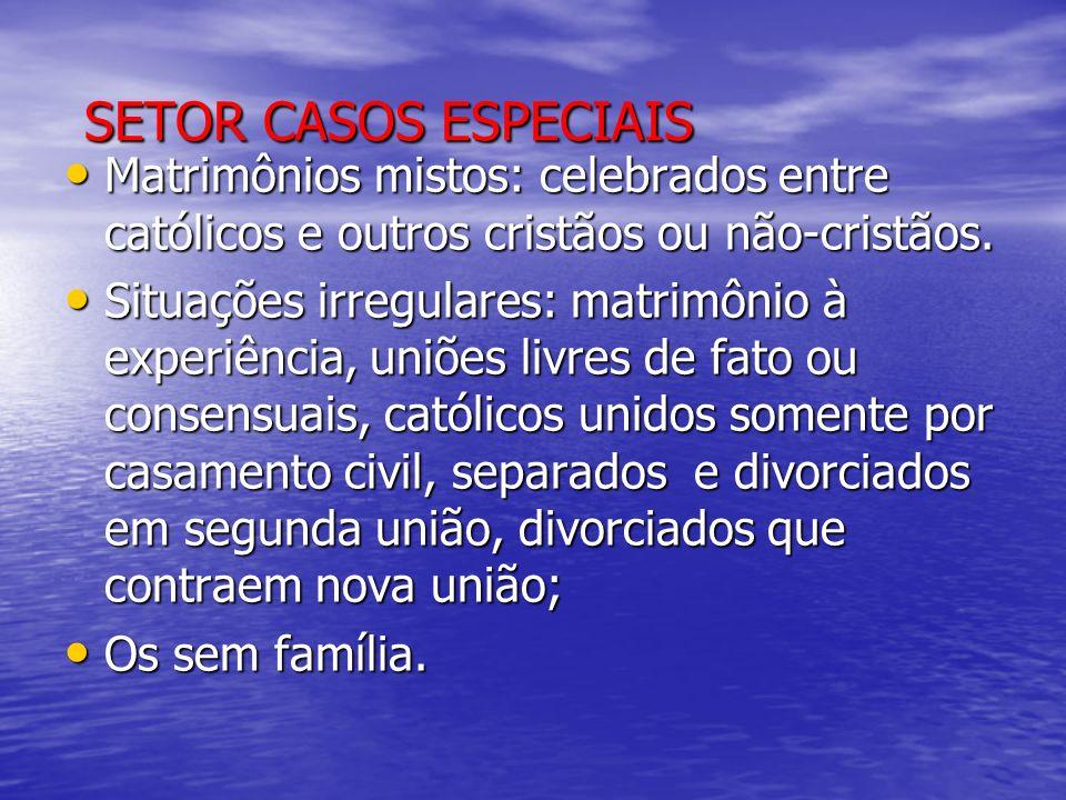 SETOR CASOS ESPECIAIS SETOR CASOS ESPECIAIS Matrimônios mistos: celebrados entre católicos e outros cristãos ou não-cristãos. Matrimônios mistos: cele