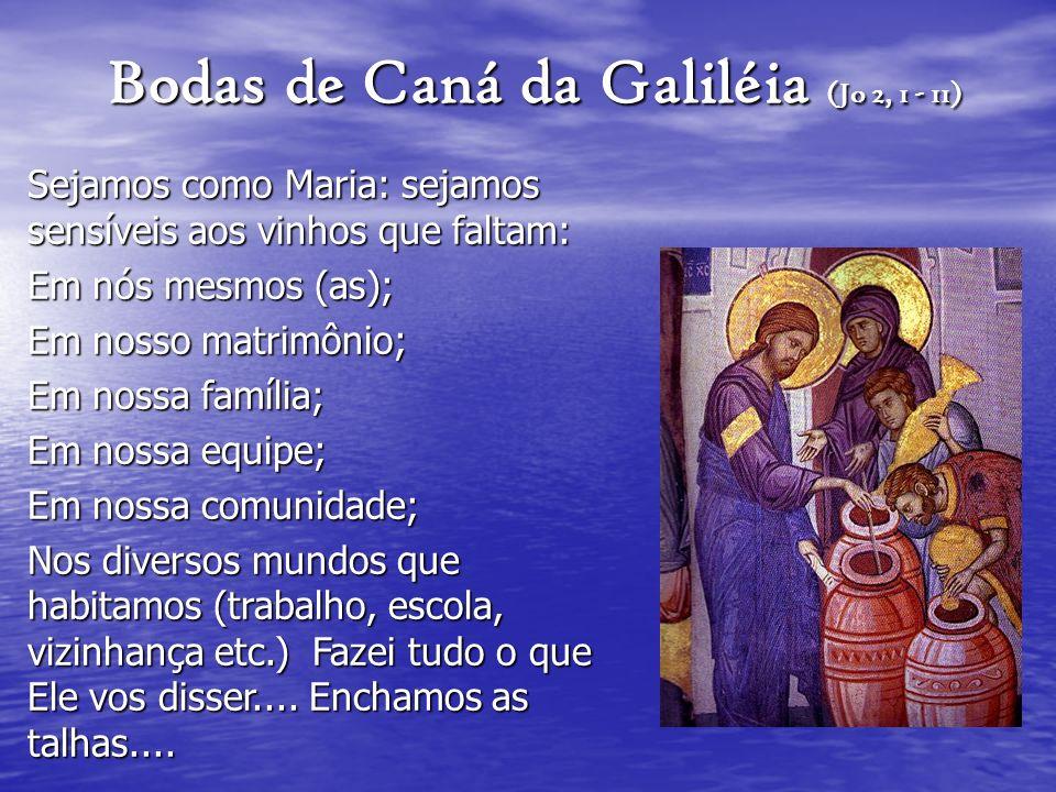 Bodas de Caná da Galiléia (Jo 2, 1 - 11) Sejamos como Maria: sejamos sensíveis aos vinhos que faltam: Em nós mesmos (as); Em nosso matrimônio; Em noss