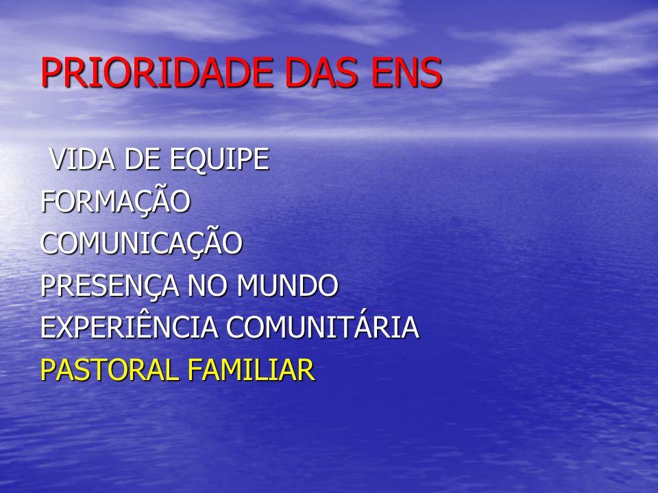PRIORIDADE DAS ENS VIDA DE EQUIPE VIDA DE EQUIPEFORMAÇÃOCOMUNICAÇÃO PRESENÇA NO MUNDO EXPERIÊNCIA COMUNITÁRIA PASTORAL FAMILIAR