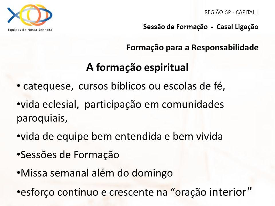 REGIÃO SP - CAPITAL I Sessão de Formação - Casal Ligação Formação para a Responsabilidade A formação espiritual catequese, cursos bíblicos ou escolas