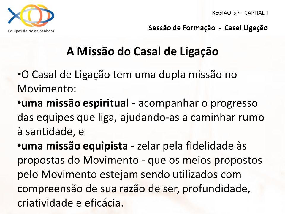 REGIÃO SP - CAPITAL I Sessão de Formação - Casal Ligação A Missão do Casal de Ligação O Casal de Ligação tem uma dupla missão no Movimento: uma missão